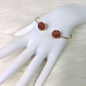 Goldtone Basketball Rhinestone Bangle Bracelet